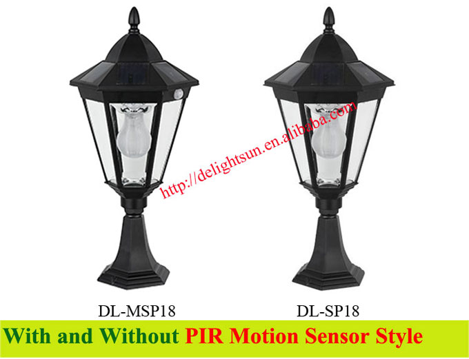 solar motion sensor post light